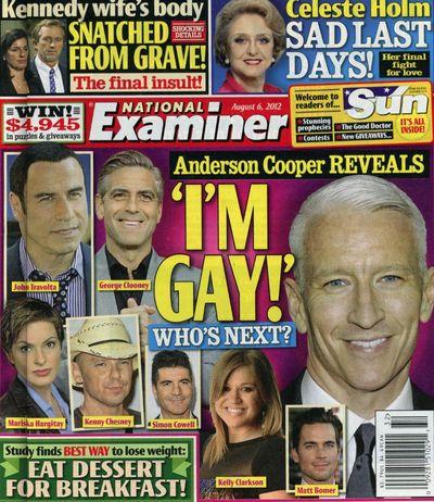 National Examiner Anderson Cooper gay George Clooney Kelly Clarkson John Travolta Matt Bomer Mariska Hargitay
