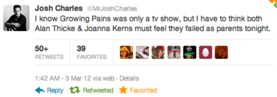 Josh Charles Twitter tweet Kirk Cameron homosexuality