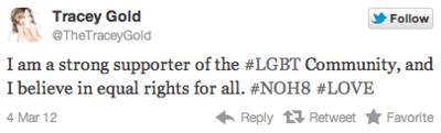 Tracey gold twitter tweet kirk cameron gay