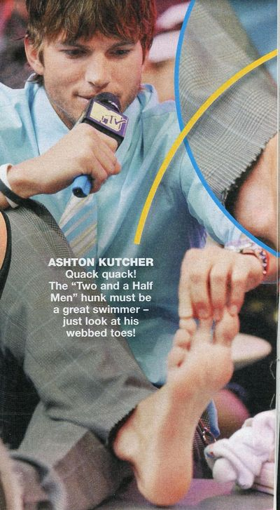 Ashton Kutcher webbed toe bare feet