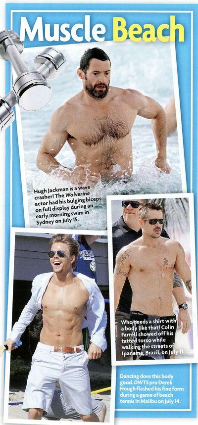 Shirtless hugh jackman derek hough colin farrell