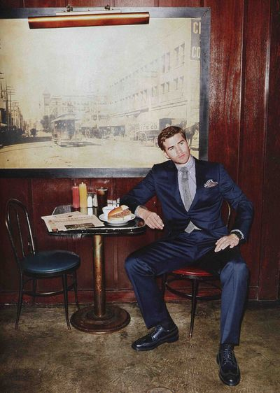 Men's Health Liam Hemsworth navy suit