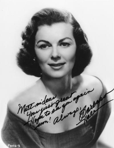 Barbara Hale autograph