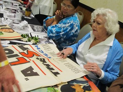 Barbara Hale signs posters