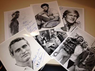 Paul Newman Gregory Harrison Lorenzo Lamas Joel Higgins Lois January autographs