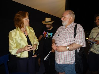 Samantha Eggar with fans